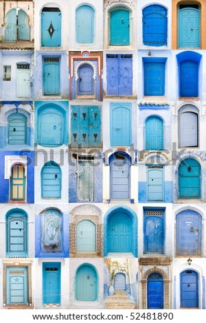 Very old, blue wooden doors of Morocco - stock photo