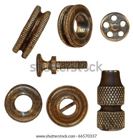 very old bolts, steel nuts, screw heads, isolated on white background (1860.years) - stock photo