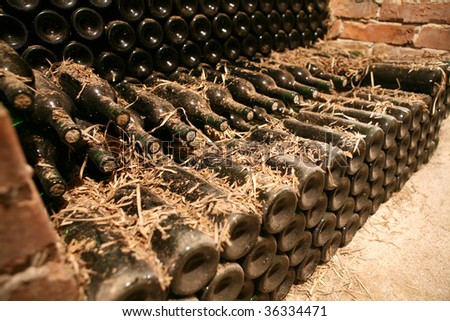 very old bottles in wine cellar - stock photo