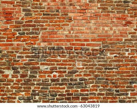 very old brick wall background - stock photo