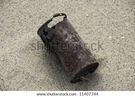 Very Old Can Found In Desert Death Valley California - stock photo