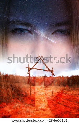 very old cemetery. double exposure. portrait of a girl - stock photo