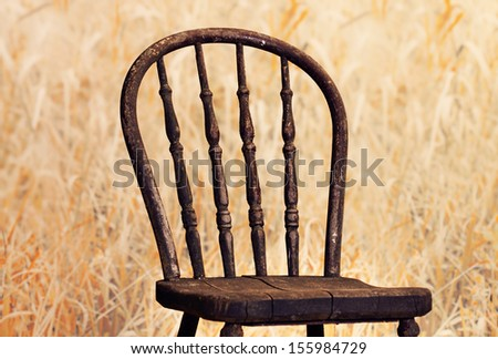 Very old chair with high definition on of its back , it is in a fall field of long grass. - stock photo