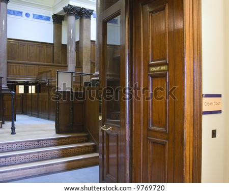 Very old crown courtroom (1854) at St Georges Hall, Liverpool,UK - stock photo