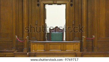 Very old crown courtroom (1854) with Judges chair at St Georges Hall, Liverpool,UK - stock photo