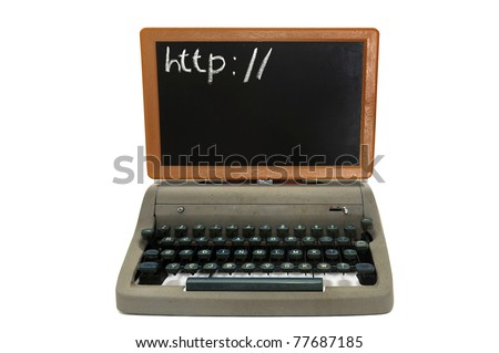 Very old fashion laptop isolated in white - stock photo