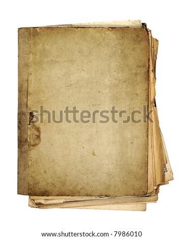 very old folder  with sheets of paper - stock photo
