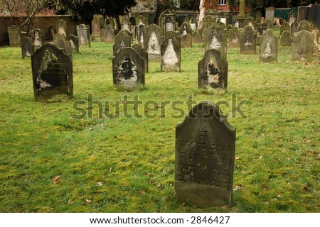 Very Old Gravestones on a Jewish Graveyard in Hamelin, Germany - stock photo