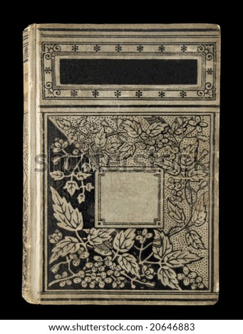 Very old gray and black book with ornamented cover and blanks for text