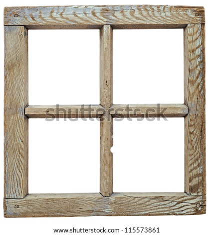 Very old grunge wooden window frame isolated in white - stock photo