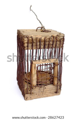 Very old handmade little cage isolated on white