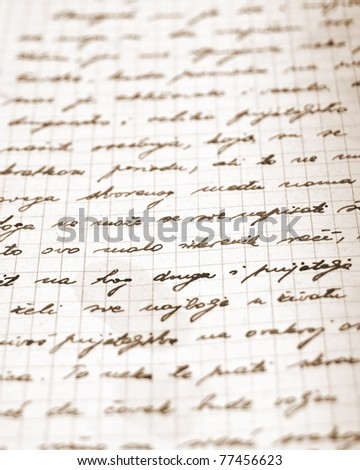 Very old handwritten letter. Shallow depth of field