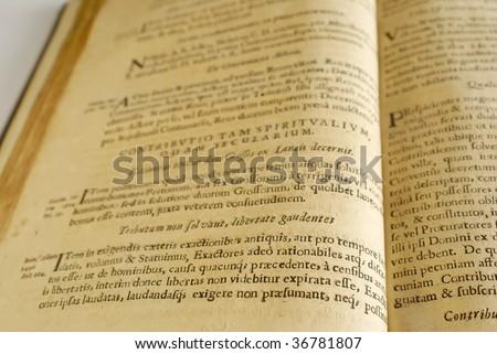Very old Latin book (17 century) - stock photo