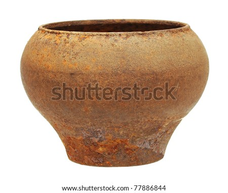 very old metal pot isolated on white - stock photo
