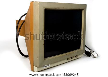 Very old PC monitor, Hercules. Isolated on White background, Path for screen included. - stock photo
