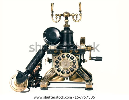 Very old phone off-hook, isolated with white background. elegant phone Image