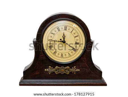 Very Old Retro Antique Clock -  isolated on white background  - stock photo