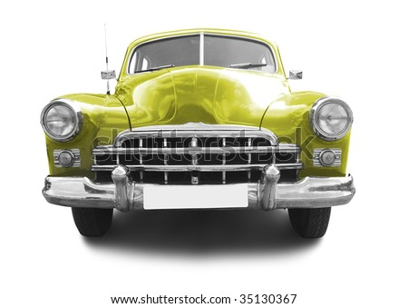 very old retro automobile isolated on white background - stock photo