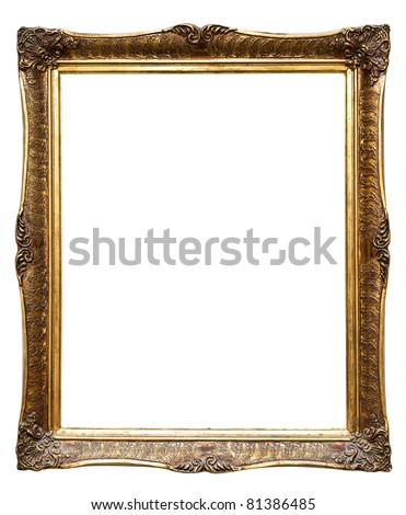 Very old retro golden frame, isolated on white (clipping paths included) - stock photo