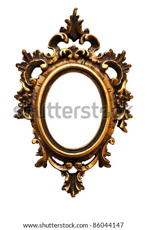 Very old retro oval  golden old frame, isolated on white (detailed clipping paths included) (No#12) - stock photo