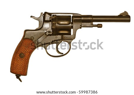 very old revolver pistol isolated on a white background - stock photo