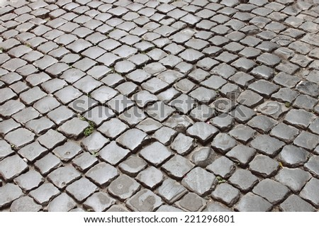 Very old roman stone pavement - stock photo