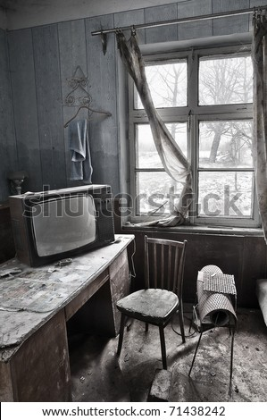 Very old room on abandoned house - stock photo