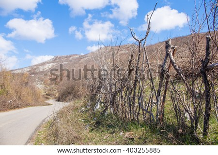 Very old rural fence - stock photo