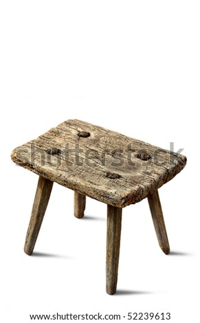 Very old rustic chair on white background - stock photo