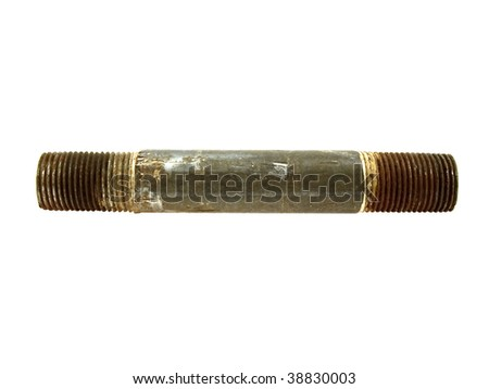 Very old rusty sanitary pipe isolated on a white background - stock photo