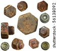 very old rusty Screw heads, bolts, wheels screw isolated on white background - stock photo