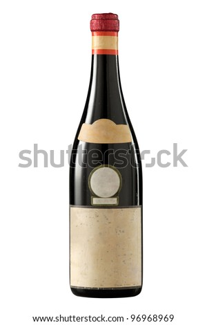 Very old (1960's) red wine bottle on white. - stock photo