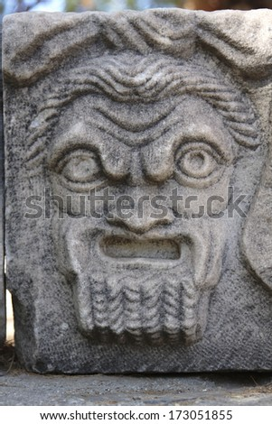 very old sculpture at the castle in Bodrum city in Turkey - stock photo