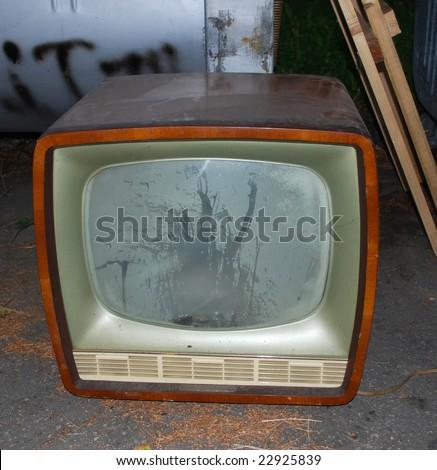 Very Old TV on  Dump - stock photo