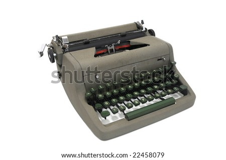 Very old typewriter isolated in white - stock photo