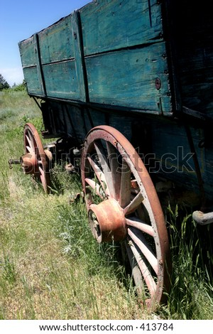 very old wagon in rural wyoming - stock photo