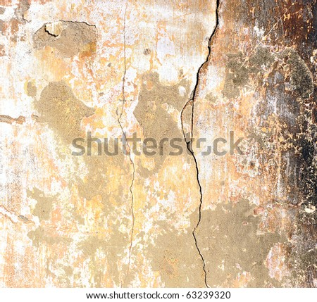 very old wall with a crack on it - stock photo