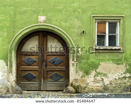 very old wood door and window - stock photo