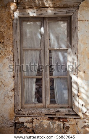 Very old wooden window - stock photo