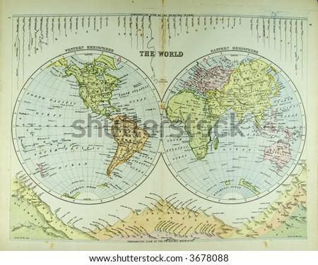 very old world map - stock photo