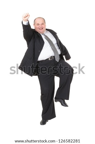 Very overweight cheerful businessman, on white background - stock photo
