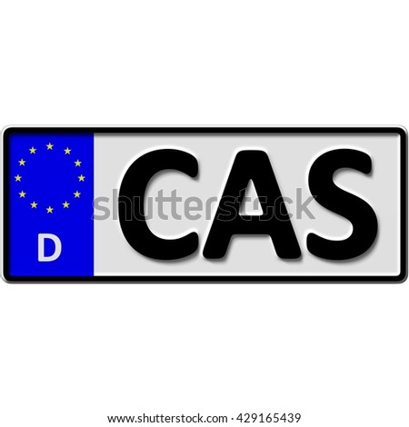 very popular and recently approved optional license plate number for Castrop-Rauxel (german city-name), 3D-Illustration - stock photo