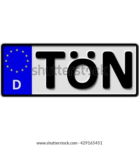 very popular and recently approved optional license plate number for Eiderstedt in Toenning (german city-name), 3D-Illustration - stock photo