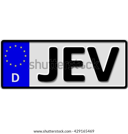 very popular and recently approved optional license plate number for Jever (german city-name), 3D-Illustration - stock photo