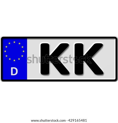 very popular and recently approved optional license plate number for Kempen-Krefeld (german city-name), 3D-Illustration - stock photo