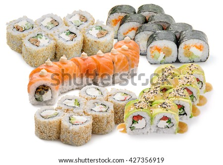 Very popular speciality from Japan. Sushi set is made of salmon, cucumber, mussels and cheese. The best variant for having dinner with family. - stock photo