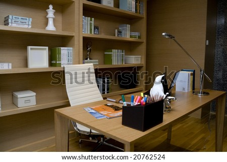 Very pretty modern looking home office - stock photo