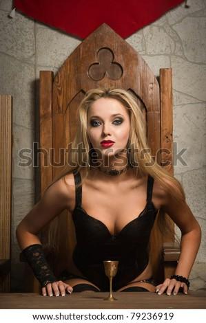Very pretty woman vamp - stock photo