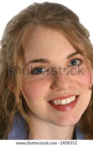 Very pretty young lady face with blue eyes - stock photo
