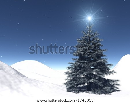 very realistic Christmas-tree in a starry night - stock photo